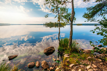 gauja: Autumn landscape with Salmon lake in Karelia, Russia