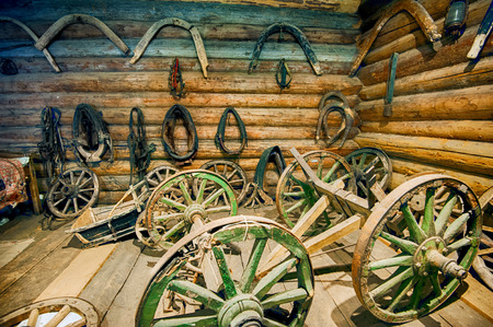 Old wooden horse equipment Stock Photo