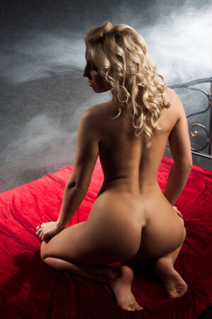 nude pose: Nude woman back view on red bed