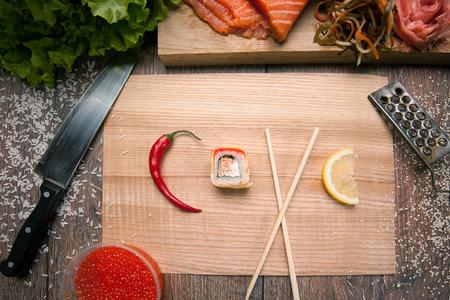 makki: Roll sushi in word love with salmon, caviar