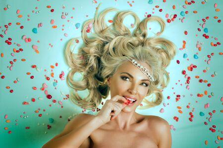 maquillaje fantasia: Retrato de joven bella princesa de dulces