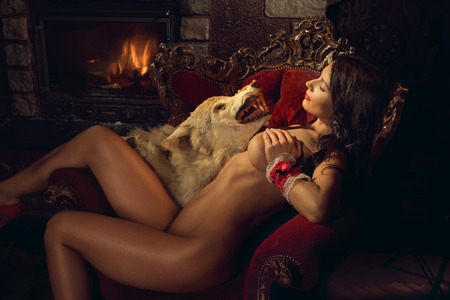 fairy story: Sexy seductive Red Riding Hood