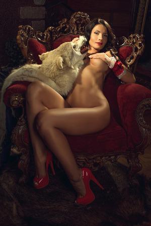 jungen unterw�sche: Sexy verf�hrerische Red Riding Hood Lizenzfreie Bilder