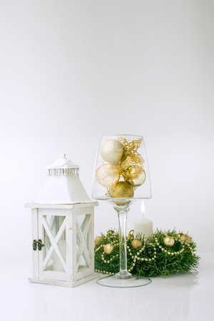 christmas decorations with white background: Christmas decorations and lantern on white background Stock Photo