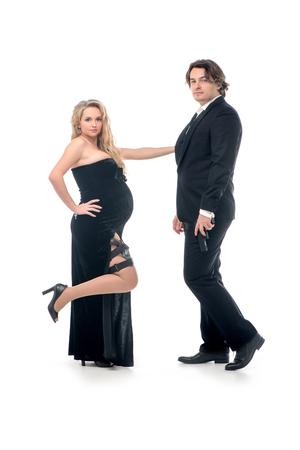 mrs: Moda mujer embarazada y su marido en estilo gangsta en se�or y la se�ora Smith estilo