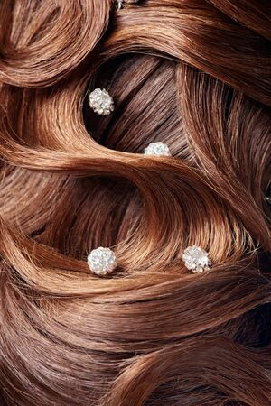 barrettes: Beautiful part of curl  hairstyle with  beautiful barrettes