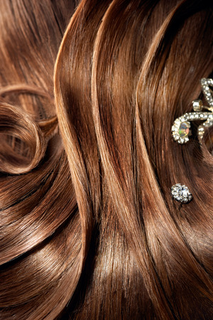 barrettes: Beautiful part of famele hairstyle with  beautiful barrettes Stock Photo