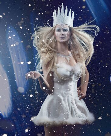 sexy glamour: Gorgeous Snow queen. Young woman in creative image with silver and white artistic make up and crown