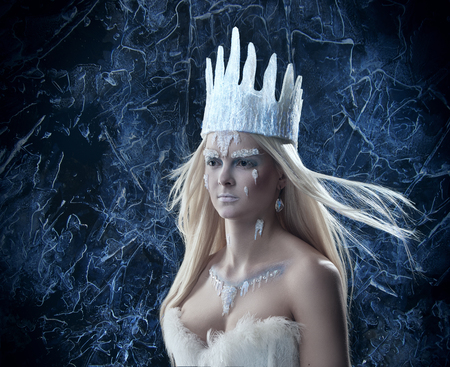 Gorgeous Snow queen. Young woman in creative image with silver and white artistic make up and crown