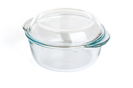 glass casserole with lid isolated on white background Stok Fotoğraf