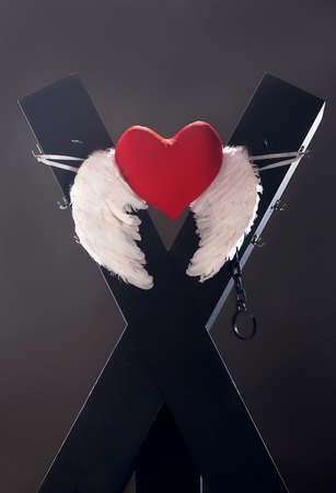 bdsm: BDSM cross with white wings and red heart
