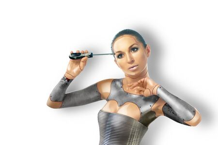 cyber woman: Beautiful cyber woman with tools,isolated on white