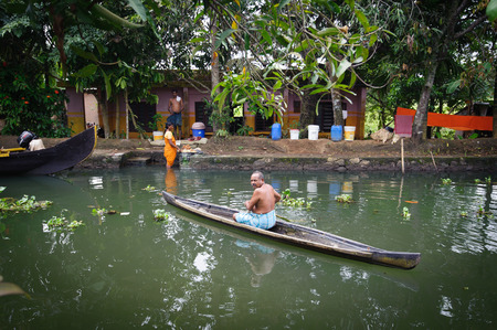 alappuzha: Tourist boats in backwaters of Alappuzha (Alleppey), Kerala state, India