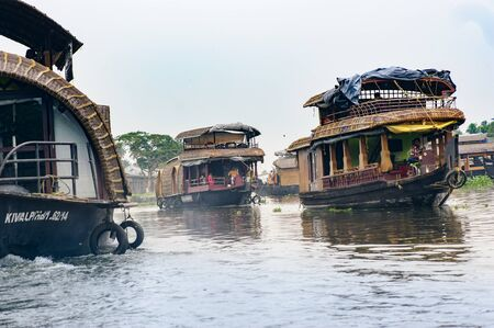 backwaters: Tourist boats in backwaters of Alappuzha (Alleppey), Kerala state, India