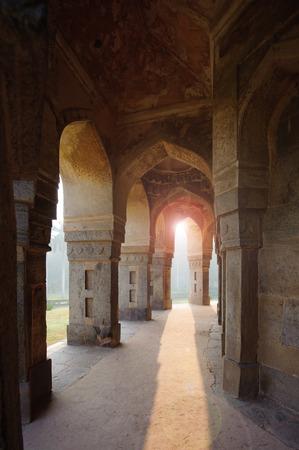 muhammad: Muhammad Shah Sayyid's Tomb, view from colonnade inside, Lodi Garden Monuments, Delhi, India Stock Photo