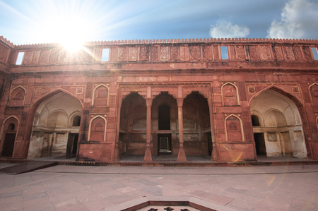 Exterior elements in courtyard of Agra Fort, Agra, Uttar Pradesh state, India