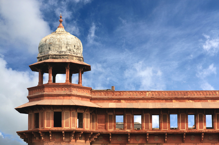 Exterior elements of Agra Fort roof, Agra, Uttar Pradesh state, India Stock Photo