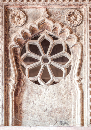 writ: Graphic symbols, patterns and tracery in Agra Fort, Agra, Uttar Pradesh state, India