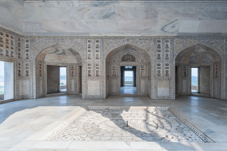 writ: Interior and exterior elements of Agra Fort Diwan I Am (Hall of Public Audience), Agra, Uttar Pradesh state, India