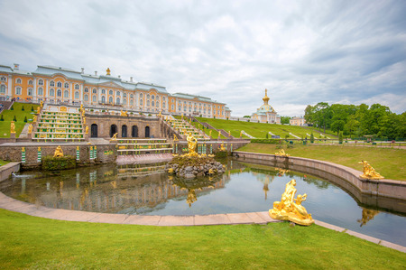 Panoramic view of The Grand Cascade fountain and Grand Palace in Petergof in Saint Petersburg, Russia Editöryel