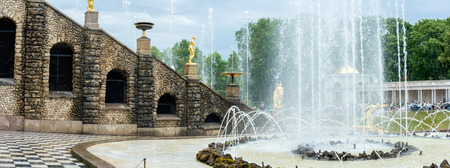 Panoramic view of The Grand Cascade fountain and Grand Palace in Petergof in Saint Petersburg, Russia Editorial