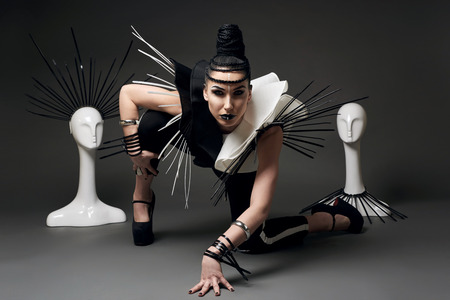 Goddes of ethnofuturism in black and white style with cable tie