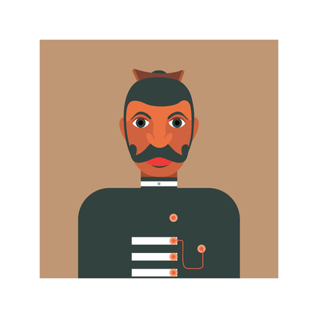 Illustration of a native headmen of Ceylon in colonial uniform