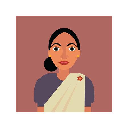 Illustration of a woman in Sri Lankan saree Illustration