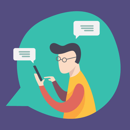 employee is talking and chatting on network. Communication, chat, messages, social networks. illustration of online communication and work. Vector