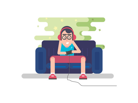 Young Boy Holding Joystick and Playing Games. Vector Illustration