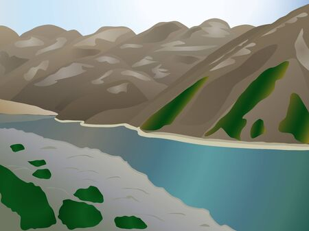 picturesque: Picturesque landscape with a lake in the mountains Illustration