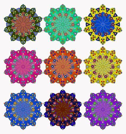 harmony: Set of mandalas, symbolizing the harmony of the world Illustration