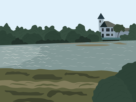 Beautiful summer landscape with house on river
