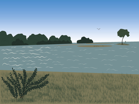 Summer landscape with island in the river