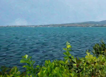 Sea landscape illustration