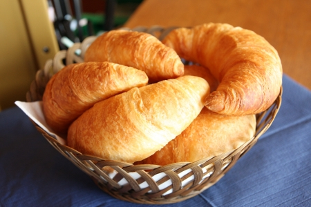 viands: Delicious breakfast with fresh croissants Stock Photo