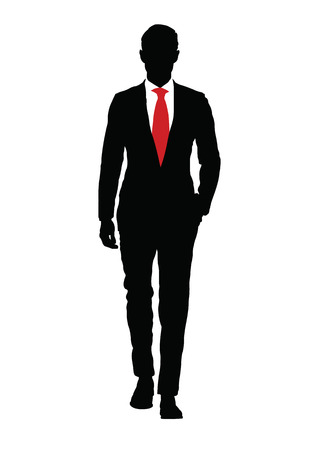 red tie: Stylish man with red tie on white background. Illustration