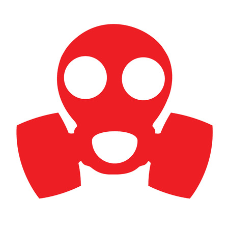 respirator: Gas mask. Respirator Red Icon Sign