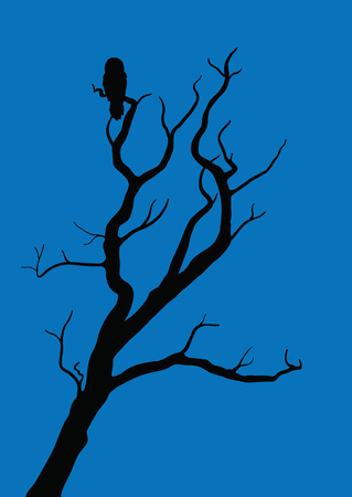withered tree with owl on night dark background Illustration