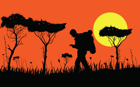 African sunset safari savannah with tourist. Sunset dusk down Illustration