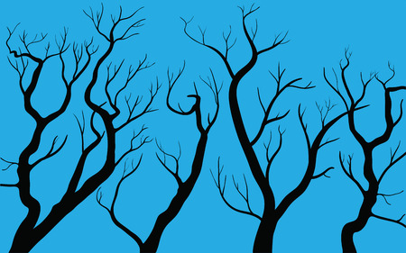 lifeless: vector illustration of autumn trees on blue background Illustration