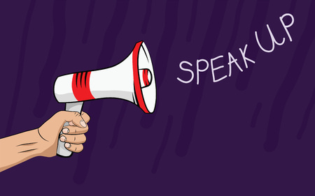 hand holding a megaphone, sounds Speak up