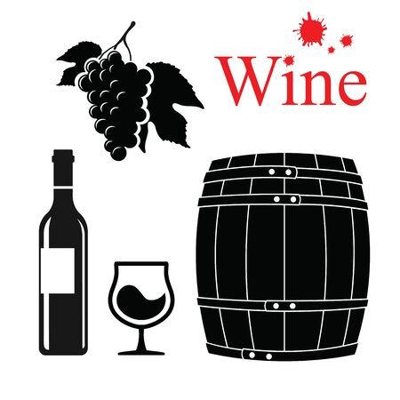 winemaking: Wine set. Winemaking products in simple style. Vector illustration with wine barrel, wine glass, grapes, grape twig. Classical alcoholic drink.