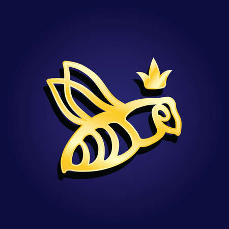 Vector logotype. Golden bee queen logo with the crown on its head on blue background. Great logotype for food company, jewelry shop, bijouterie, education.