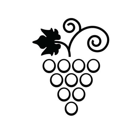 Twisted branch of grapes with leaf flat icon for food apps and websites