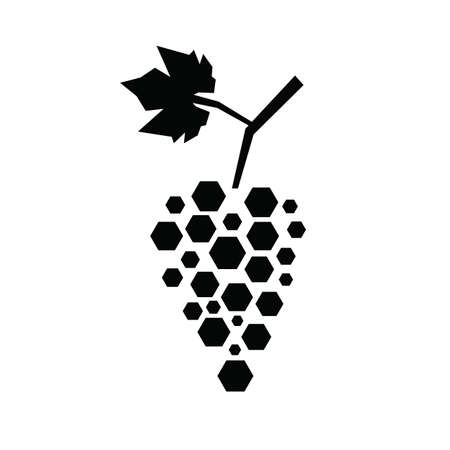Black silhouette of hexagon grapes. Vector illustration.