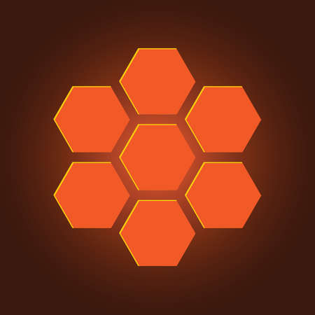 orange hexagons with a yellow reflexion on a brownish background Illustration