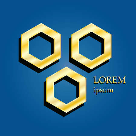 3d gold hexagonal logo on blue background with lorem ipsum and shadow