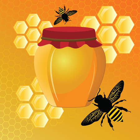 jug with honey and bees on the background of hexagons