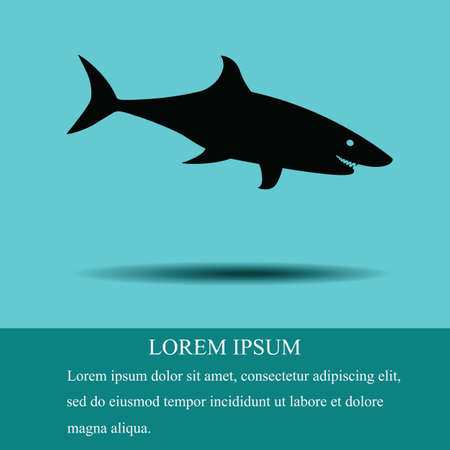 The black silhouette of a shark on a turquoise background. With space for text Иллюстрация